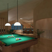 3d model of penthouse bar interior