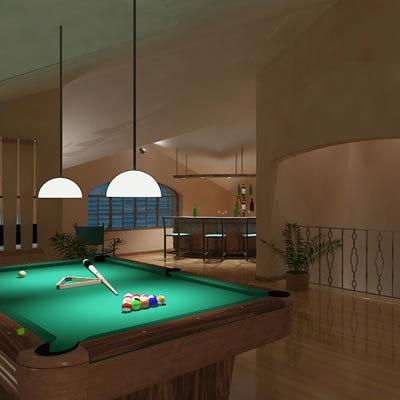 3d model of penthouse bar interior
