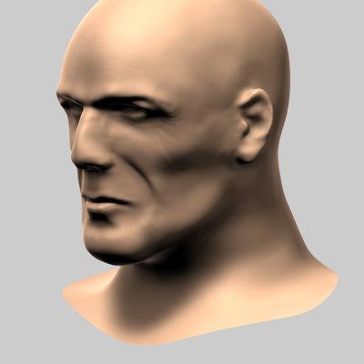 3d model male human head bruce