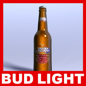 bud light beer bottle 3d obj