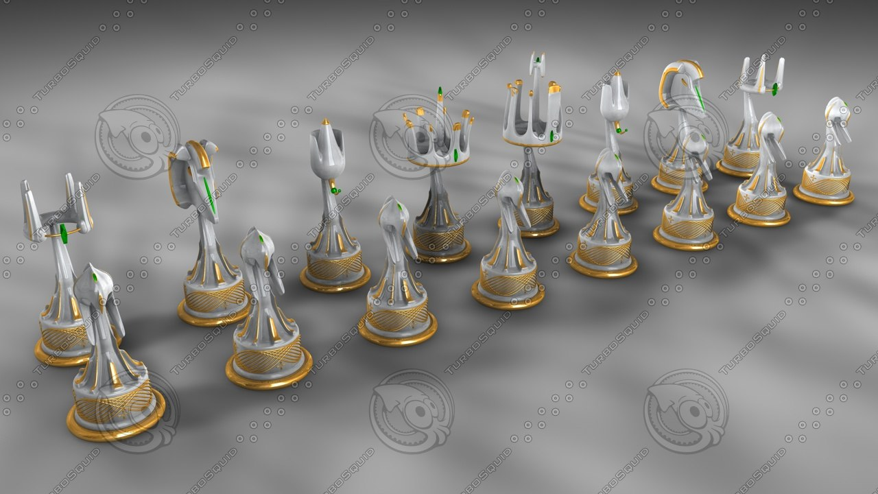 elvish chess set 3d model