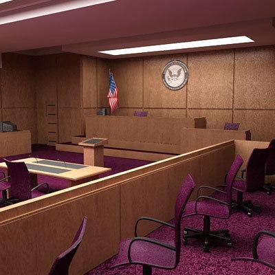 3d courtroom room model