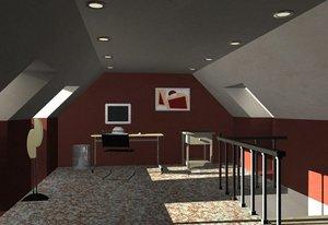 3d attic interior