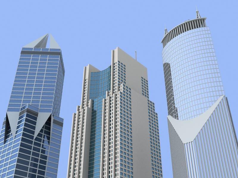 3d model 3 skyscrapers shanghai buildings