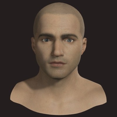 maya polygonal male head