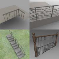 railing balustrade 3d dxf