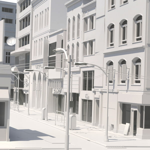 3d untextured building view