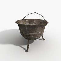 pot pan cauldron 3d model