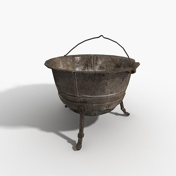 pot pan cauldron 3d model