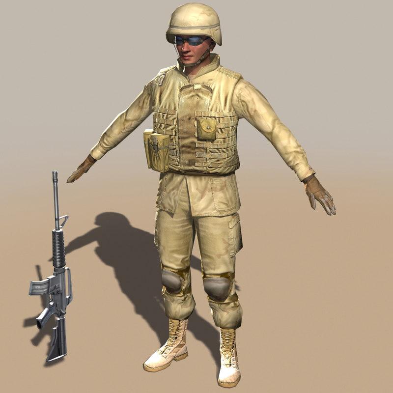 soldier m4 carbine 3d model