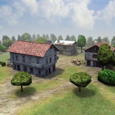 3d abandoned farm ruined model