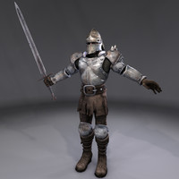 3d knight rusted armor model