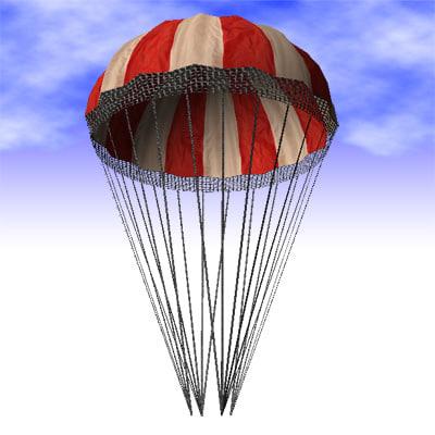 parachute air-drop cargo 3d model