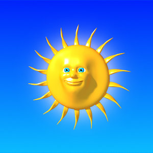 3d cartoon sun model