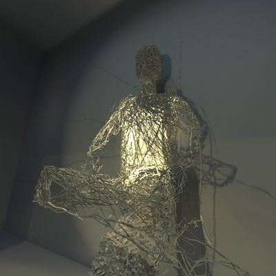 3d sitting man wires