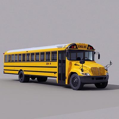3d model american school bus