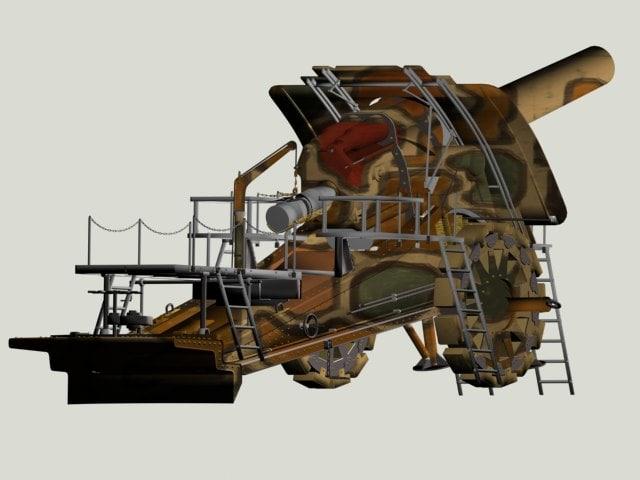 3d model artillery dicke berta