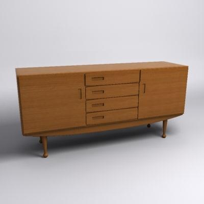 3d model danish modern sideboard