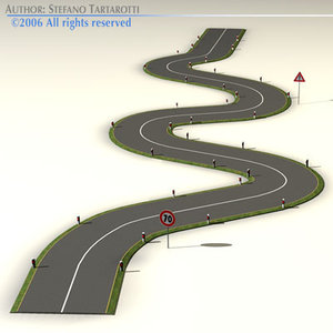 3d road curves street signs model