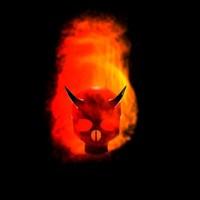 demonic evil flaming skull blend