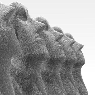 3d moai statues rapa nui
