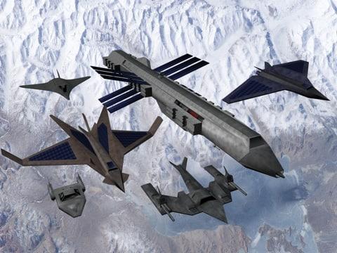 ships space transporter fighter 3d 3ds