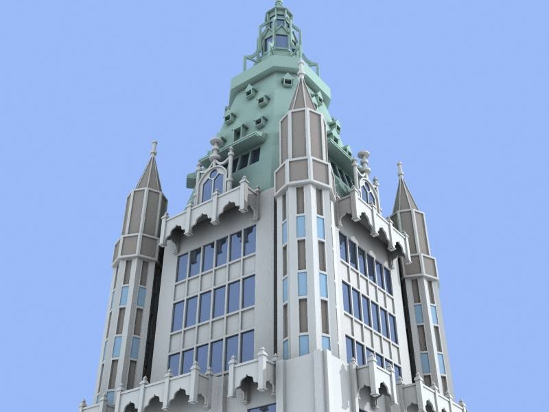 woolworth building skyscrapers 3d max