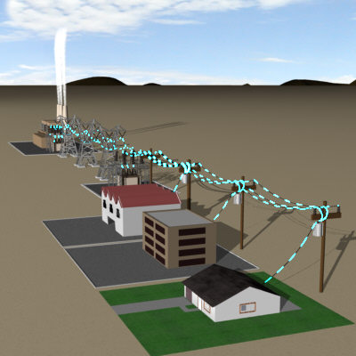electricity flow transmission 3d model