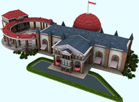 3d model club architecture building