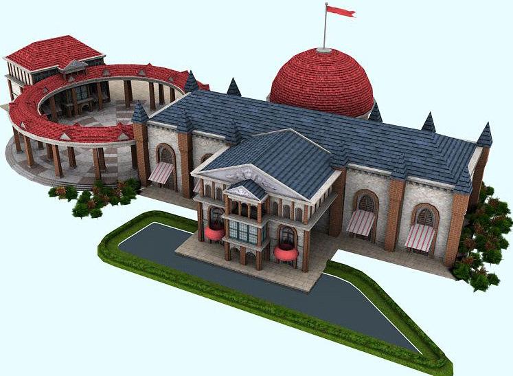 3d model club architecture building