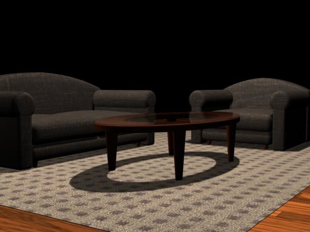 3d couch chair coffee table