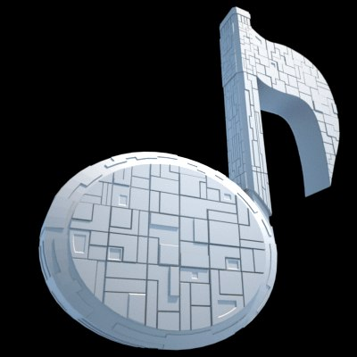 spaceship musical note 3d 3ds