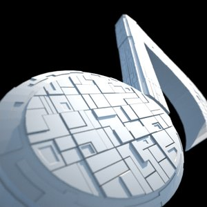 3d spaceship musical note