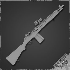 m14 socom scout rifle 3d model