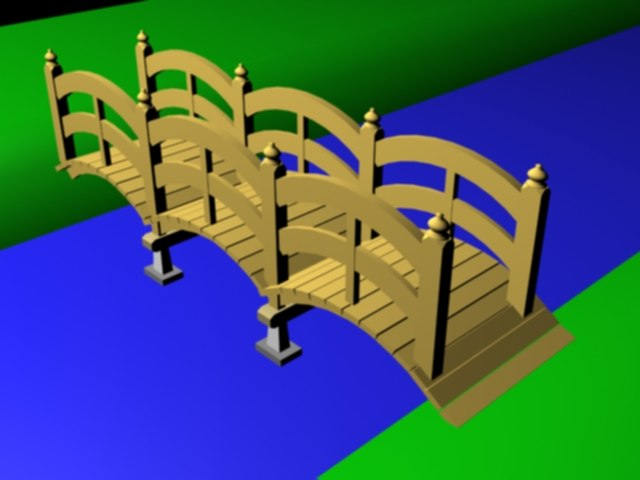simple wood bridge 3d model