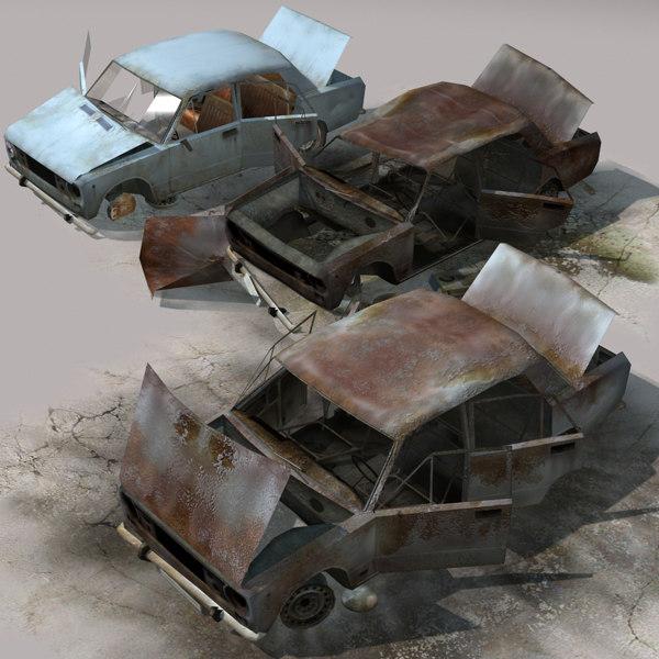 arab city element car wrecks 3d model