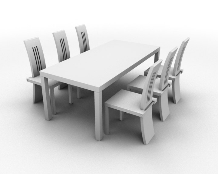 dining table chairs 3d ma