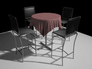3d bar stool table