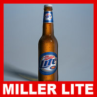 miller lite beer bottle 3d model
