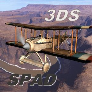 spad biplane 3ds
