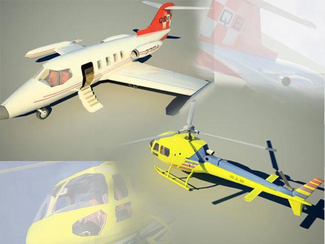 3d model learjet eurocopter pack