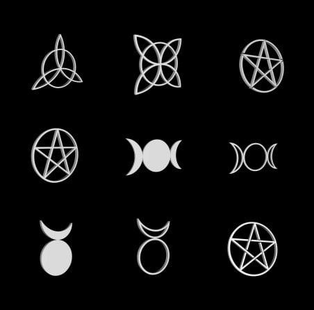 3d wiccan pagan pentagrams