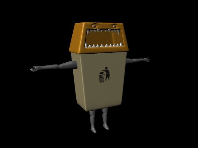 garbage pail character 3d model