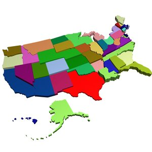 50 states 3d model