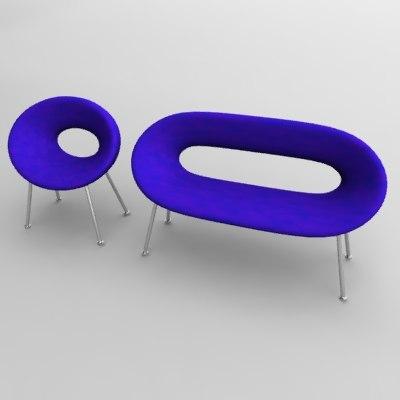 3d couch set model