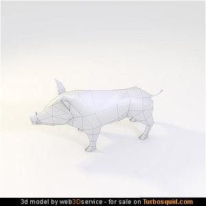 3d obj wild boar 432 triangles