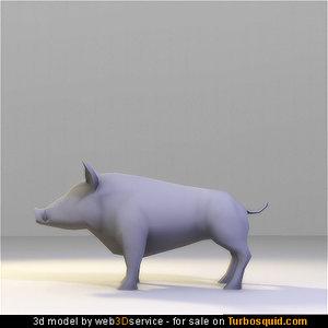 wild boar 708 triangles obj
