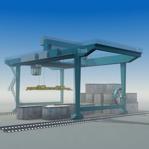 rmg rail gantry crane 3d model