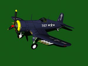 3d model f4u corsair aircraft