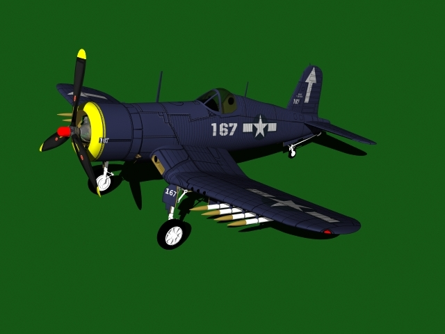 3d model f4u corsair aircraft